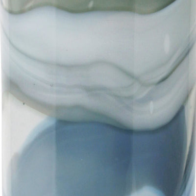 21 Bottle Shape Abstract Pattern Glass Vase,Gray and Blue by Casagear Home BM229505