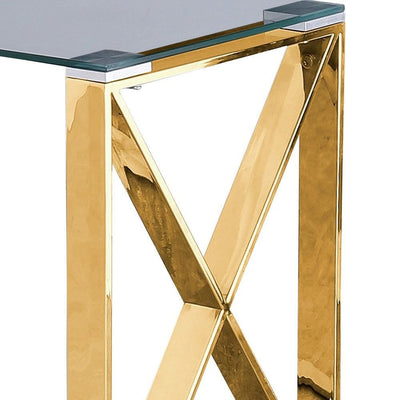22 Metal X Frame Glass Top Side Table Gold By Casagear Home BM229526