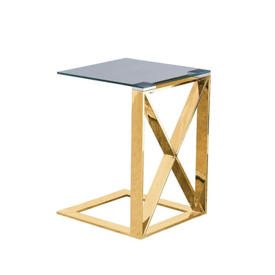 "22"" Metal X Frame Glass Top Side Table, Gold By Casagear Home"