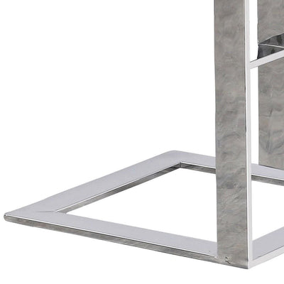 22 Metal Box Frame Glass Top Side Table Silver By Casagear Home BM229527