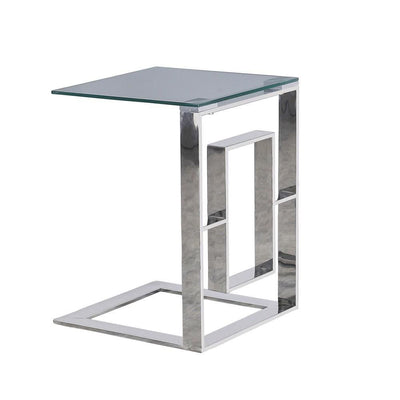 "22"" Metal Box Frame Glass Top Side Table, Silver By Casagear Home"