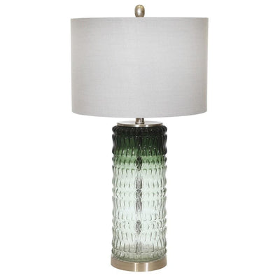 "31"" Textured Glass Table Lamp with Drum Shade, Green By Casagear Home"