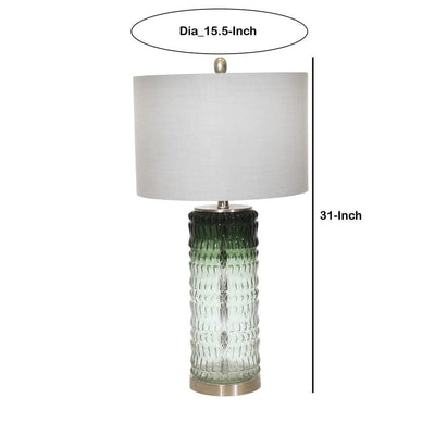 31 Textured Glass Table Lamp with Drum Shade Green By Casagear Home BM229532