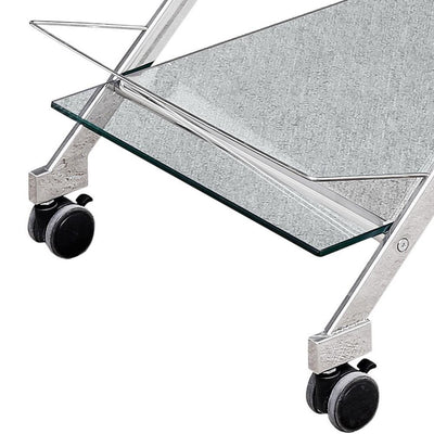 2 Tier Rolling Bar Cart with Glass Shelves Silver By Casagear Home BM229543