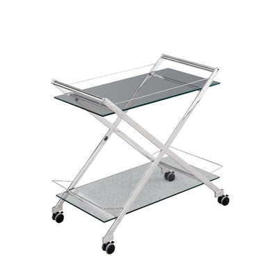 2 Tier Rolling Bar Cart with Glass Shelves, Silver By Casagear Home
