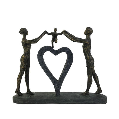 "15"" Polyresin Family Figurine with Heart Sculpture, Bronze By Casagear Home"