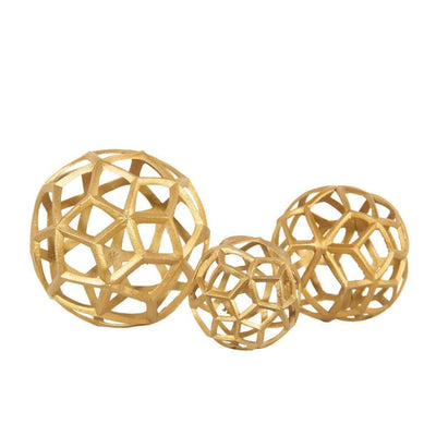 Aluminum Frame Decorative Metal Spheres, Set of 3, Gold by Casagear Home