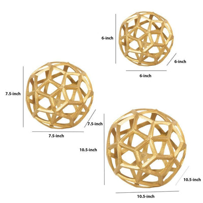 Aluminum Frame Decorative Metal Spheres Set of 3 Gold by Casagear Home BM229586