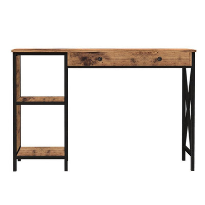 Wood and Metal Computer Desk with Open Shelves Brown and Black by Casagear Home BM229592