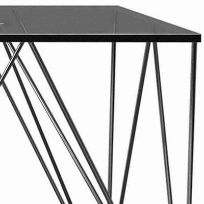 23.5'' Square Glass Top End Table with V Metal Legs Gray By Casagear Home BM229629