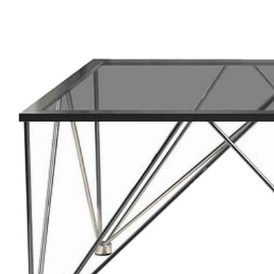 53'' Glass Top Coffee Table with V Metal Legs Gray By Casagear Home BM229630
