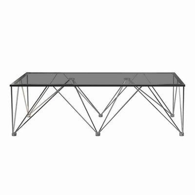 53'' Glass Top Coffee Table with V Metal Legs, Gray By Casagear Home