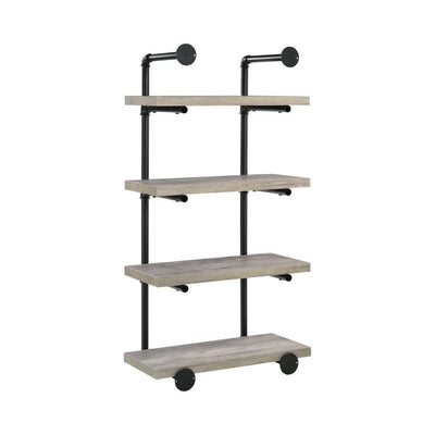 24 Inches 4 Tier Wood and Metal Wall Shelf Gray and Black By Casagear Home BM229650