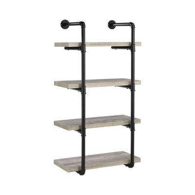 24 Inches 4 Tier Wood and Metal Wall Shelf, Gray and Black By Casagear Home
