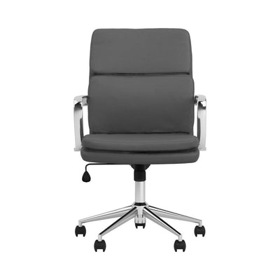 Mid-Back Adjustable Leatherette Office Chair,Gray and Chrome By Casagear Home BM229661