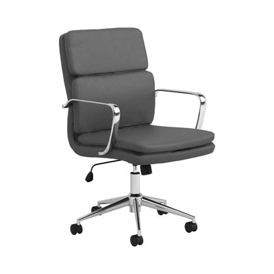Mid-Back Adjustable Leatherette Office Chair,Gray and Chrome By Casagear Home