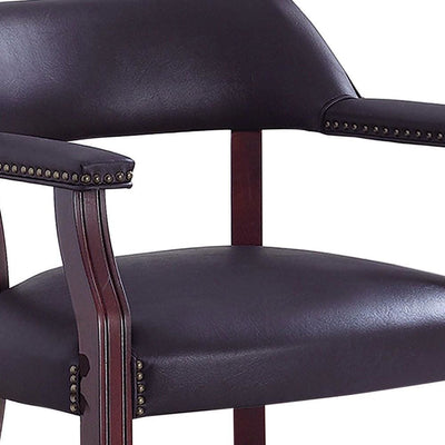 Leatherette Accent Chair with Cut Out Back Brown By Casagear Home BM229664