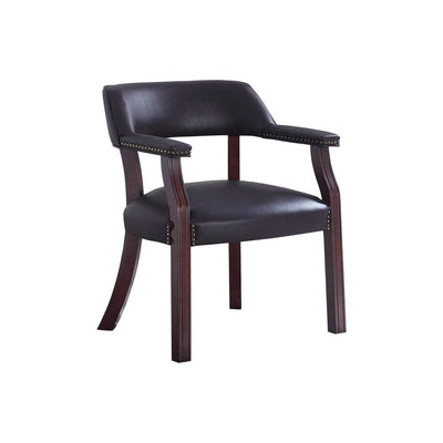 Leatherette Accent Chair with Cut Out Back, Brown By Casagear Home