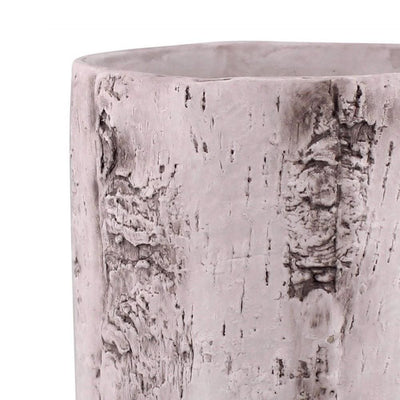 Faux Birch Cement Framed Cylinder Planter Large White By Casagear Home BM229691