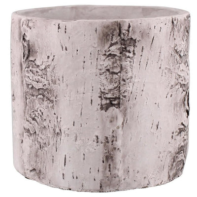 Faux Birch Cement Framed Cylinder Planter, Large, White By Casagear Home