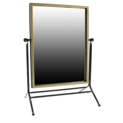 Rectangular Metal Frame Swiveling Mirror, Gold and Gray By Casagear Home