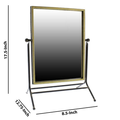 Rectangular Metal Frame Swiveling Mirror Gold and Gray By Casagear Home BM229701
