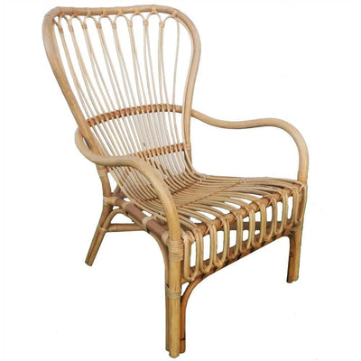 Handcrafted Rattan Frame Arm Chair, Natural Brown By Casagear Home