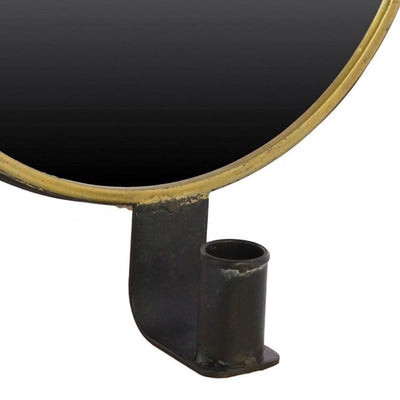 Round Metal Encased Mirror Sconce Black and Brass By Casagear Home BM229720