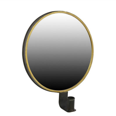 Round Metal Encased Mirror Sconce, Black and Brass By Casagear Home