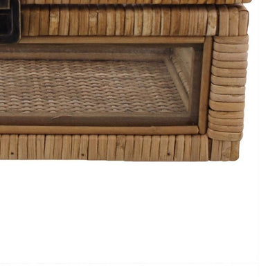 Rattan and Glass Frame Rectangular Case with Lock Brown By Casagear Home BM229727