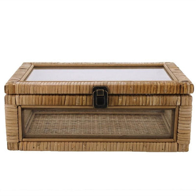 Rattan and Glass Frame Rectangular Case with Lock, Brown By Casagear Home