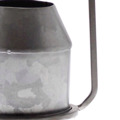 Round Top Metal Frame Vase with Handle Galvanized Gray By Casagear Home BM229739