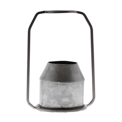 Round Top Metal Frame Vase with Handle, Galvanized Gray By Casagear Home