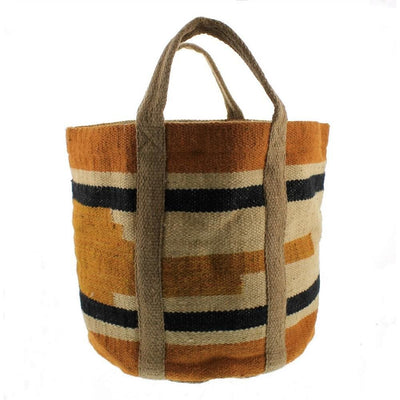 Woven Jute Storage Tote with Stripes, Orange and Black By Casagear Home