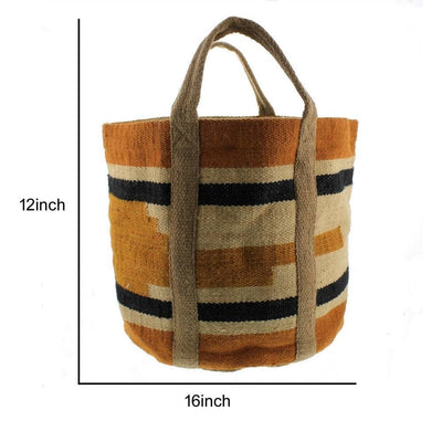 Woven Jute Storage Tote with Stripes Orange and Black By Casagear Home BM229753