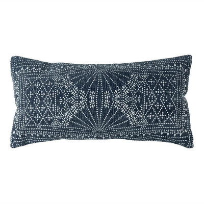 12 x 24 Accent Pillow with Batik Print, Blue and White By Casagear Home