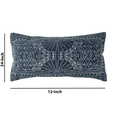 12 x 24 Accent Pillow with Batik Print Blue and White By Casagear Home BM229758