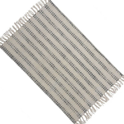 2 x 3 Feet Cotton Rug with Sawtooth Stripe Gray and White By Casagear Home BM229764