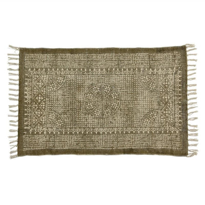 2 x 3 Feet Cotton Rug with Block Print and Fringes, Brown and White By Casagear Home