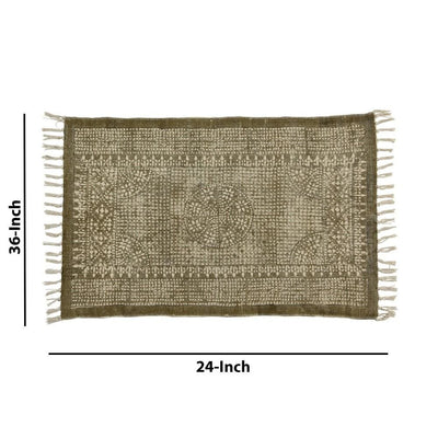 2 x 3 Feet Cotton Rug with Block Print and Fringes Brown and White By Casagear Home BM229768