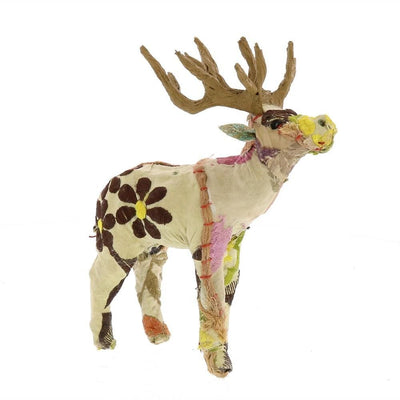 8 Inches Fabric Wrapped Stag Figurine, Multicolor By Casagear Home
