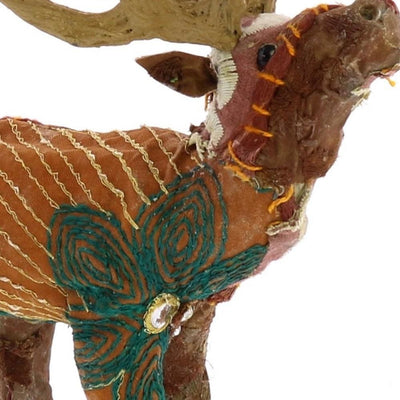 Fabric Wrapped Stag Figurine with Elegant Embroidery Brown By Casagear Home BM229774