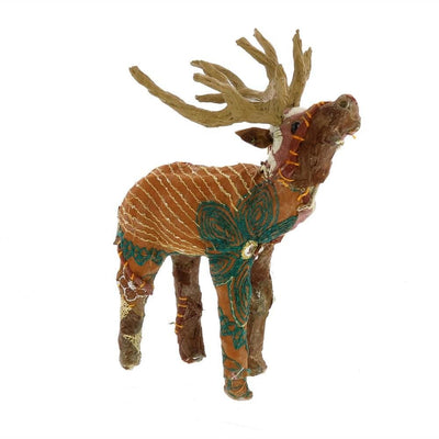Fabric Wrapped Stag Figurine with Elegant Embroidery, Brown By Casagear Home