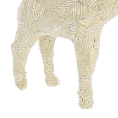 Fabric Wrapped Stag Figurine with Elegant Embroidery White By Casagear Home BM229775