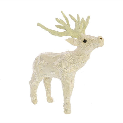 Fabric Wrapped Stag Figurine with Elegant Embroidery, White By Casagear Home