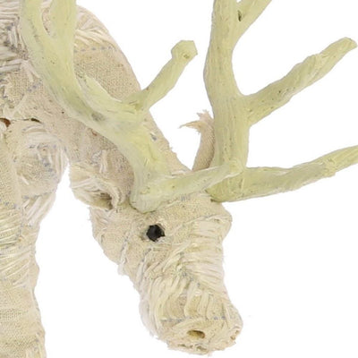 Fabric Wrapped Grazing Stag Figurine White By Casagear Home BM229779