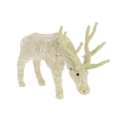 Fabric Wrapped Grazing Stag Figurine, White By Casagear Home