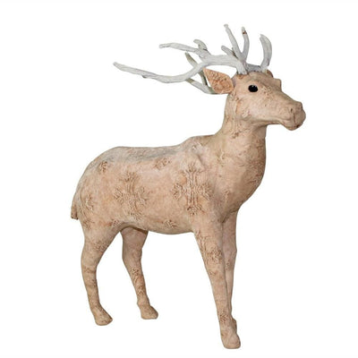 19 Inches Fabric Wrapped Stag Figurine, Beige and White  By Casagear Home
