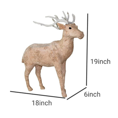 19 Inches Fabric Wrapped Stag Figurine Beige and White By Casagear Home BM229784
