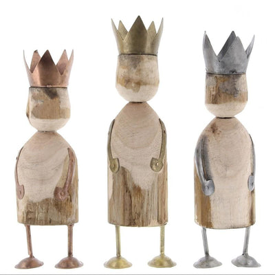 Wise Men Wooden Accent Decor with Crown, Set of 3, Brown  By Casagear Home